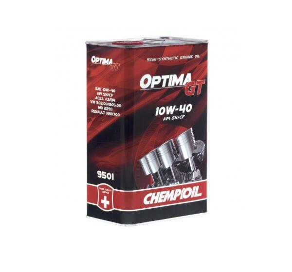 Масло моторное CHEMPIOIL SN/CF 10W-40 Optima GT полусинтетическое metal 4л 9501 (4шт/кор) арт. 9501