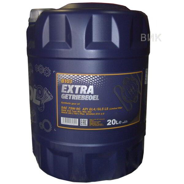 Масло MANNOL GL-5 LS/GL-5/GL-4 75w90 EXTRA трансмис. синтетика 20л арт. MN-1382